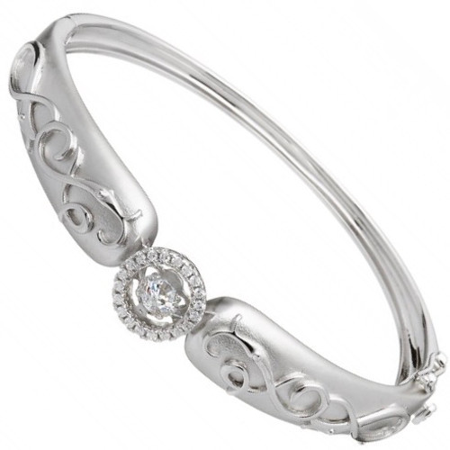 Damhsa Woodquay Bangle with Dancing CZ In Sterling Silver by BORU