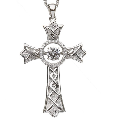 Damhsa Pointed Cross with Dancing CZ In Sterling Silver by BORU