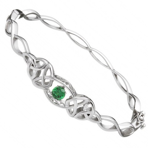 Damhsa Trinity with Green Dancing CZ - Bangle In Sterling Silver by BORU