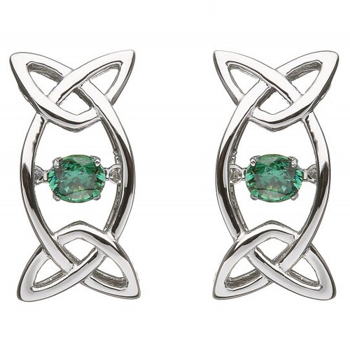 Damhsa Trinity with Green Dancing CZ - Earring In Sterling Silver by BORU