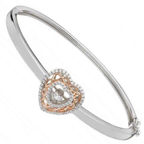 Damhsa Celtic Knot Heart Dancing CZ - Bangle In Sterling Silver by BORU
