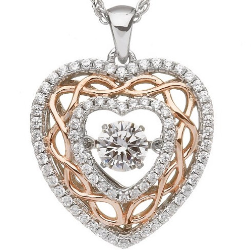 Damhsa Celtic Knot Heart Dancing CZ - Pendant In Sterling Silver by BORU (DSP006