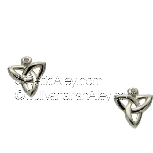 These earrings are part of the Trinity Knot Collection.     Materials: Sterling Silver with Diamonds  Dimensions (h x w):  1/4″  x  3/8″  Details: post     Wear these earrings to represent the three entities of Maiden, Mother and Wise Woman.  Pair this piece with the PNS3003 Trinity Knot necklace to complete the set.  These earrings are also offered in Yellow, White or Rose Gold in 10k, 14k, or 18k.