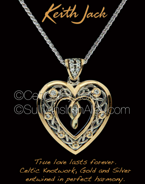 Keith Jack's new Sterling Silver with 10k yellow gold Cubic Zirconia stone set heart pendant PPX9165-CZ