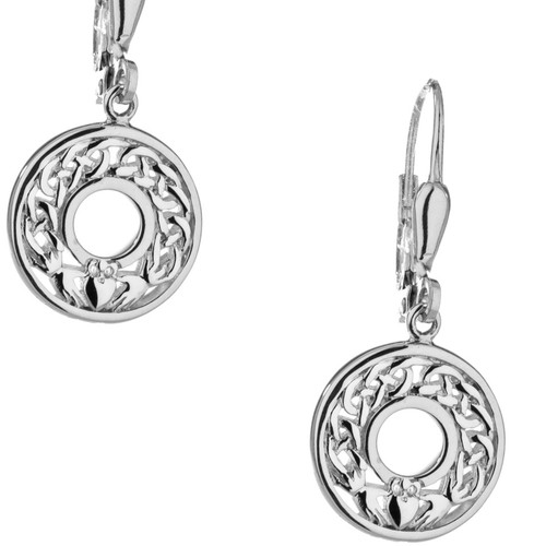 S/sil Claddagh Leverback Earrings By Keith Jack