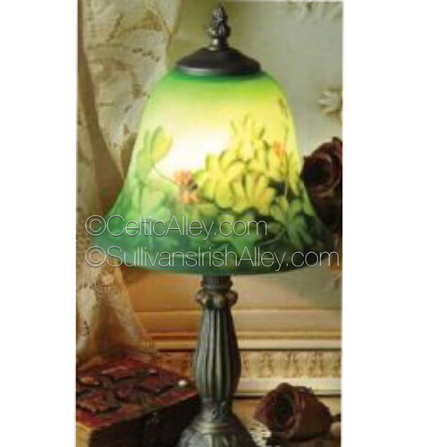 "Shamrock Reverse Hand Painted Lamp 15""  8-501"