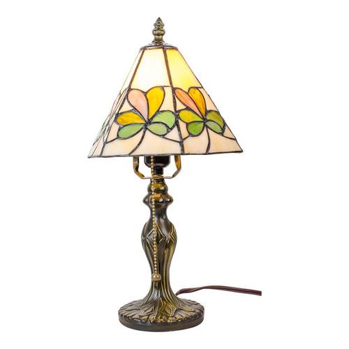 "Tiffany Style Irish Shamrock Variegated Stained Glass Lamp 14..5"" L006"