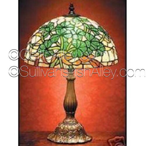 """Irish Celtic Shamrock Tiffany Stained Glass Lamp 21"""""""