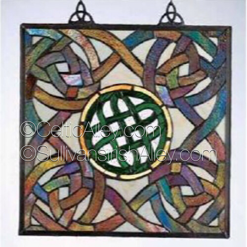 """Green Celtic Knot Tiffany Style Stained Glass Window 16"""" FREE SHIP"""