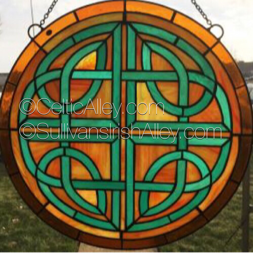 Celtic Round Stained Glass Window