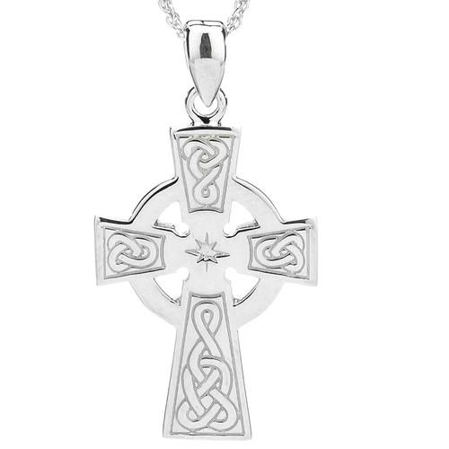 Sterling Silver Celtic Cross Medium Pendant by KEITH JACK PCR3044