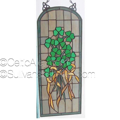 "Shamrock Arch Stained Glass Window 25.25 x 10"" FREE SHIP"