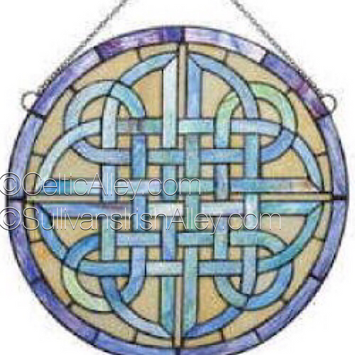 """Celtic Round Stained Glass Window 18"""" Diameter"""