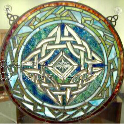 "Stained Glass Celtic Window 19.5"" Diameter FREE SHIP (W015)"