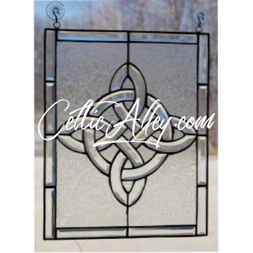 "Celtic View Beveled Glass Window 14"" x 11.5"""