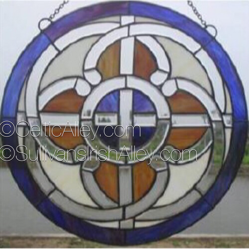 Celtic Pathways Beveled Stained Glass Window 16""