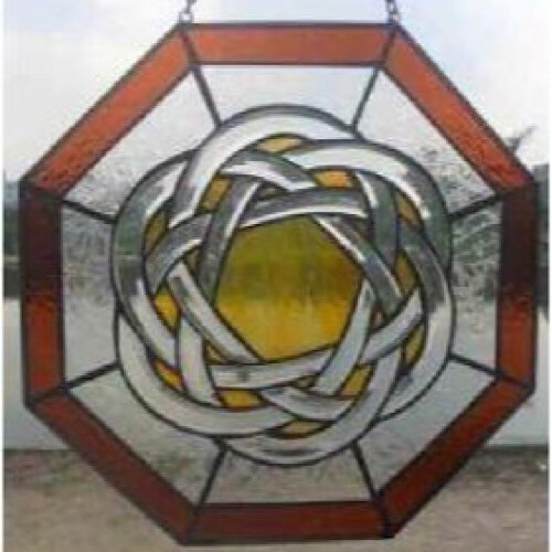 Celtic Sun Stained Glass Beveled Window 12""