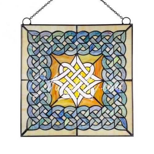 "Celtic Diamond Beveled Glass Window 14"""