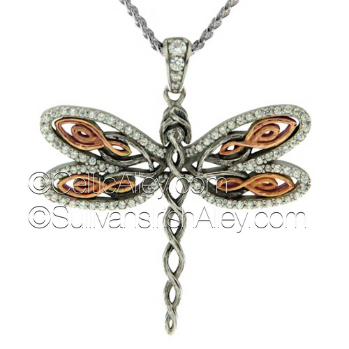 "Keith has been saving this one up~ This gorgeous new DragonFly Pendant is Sterling Silver with CZ's & 10k Rose Gold.  The dragonfly is a symbol of good luck, transformation, and self-realization. Remember to live life to the fullest!  It is in stock now and available to ship.  1 3/8"" x 1 1/2"""