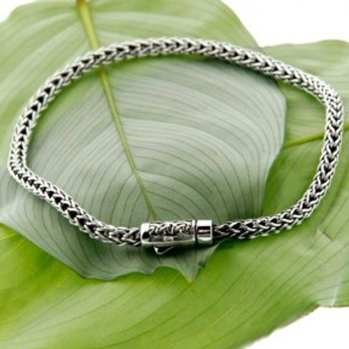 Sterling Silver Dragon Weave 3mm round  Bracelet with Lobste Claw by KEITH JACK