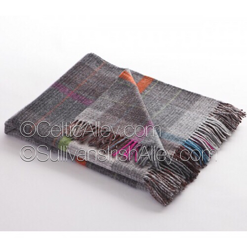 Slate/Multi Windowpane Lambswool Throw Made In Ireland
