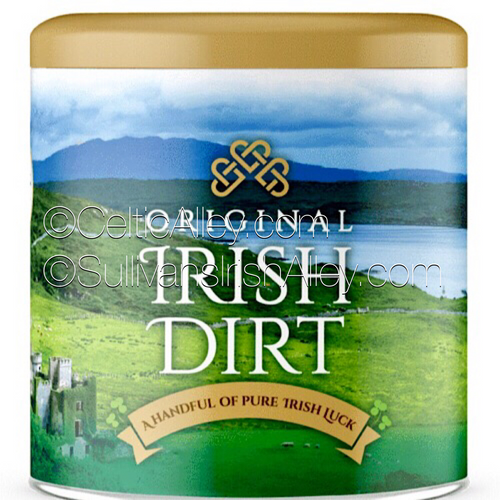 Original Irish Dirt Are you looking for a truly unique gift? Give your loved ones a Handful of Pure Irish Luck! Each beautifully designed tin of Original Irish Dirt is filled with 0.8 lb of genuine Irish earth, freshly dug up from some of the finest fields in Ireland.  Product details: • Dimensions: 3.9″ high x 3.9″ diameter, • Material: tinplate (fully recyclable). Whether Ireland is the country of your birth, the land of your ancestors, or whether it simply holds a special place in your heart, this product helps celebrate life`s important moments with a genuine piece of Pure Irish Luck.