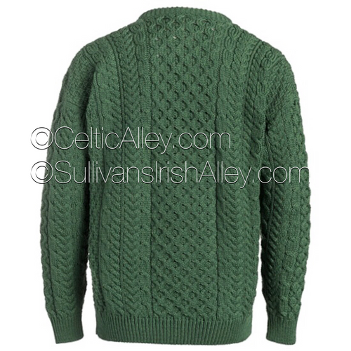 Traditional Aran Sweater In Green Made In Ireland