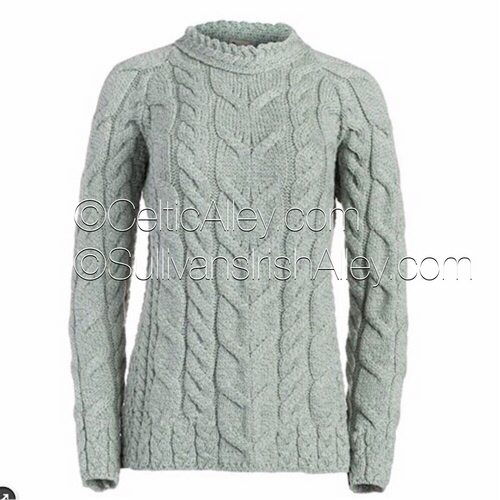 The  AISLING Ladies Aran Sweater In Seafoam Green Made In Ireland