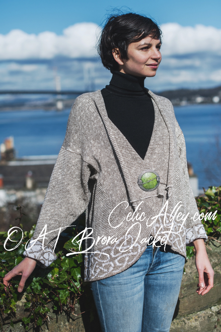 Celtic Brora Jacket Made by Bill Baber Knitwear in the Color Oat Hand Made