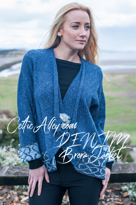 Celtic Brora Jacket Made by Bill Baber Knitwear in the Color Denim Hand Made