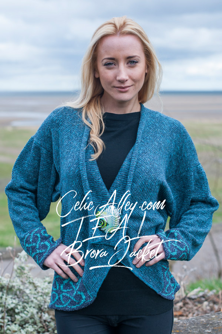 Celtic Brora Jacket Made by Bill Baber Knitwear in the Color Teal Hand Made
