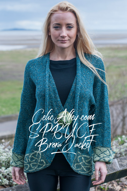 Celtic Brora Jacket Made by Bill Baber Knitwear in the Color SPRUCE Hand Made