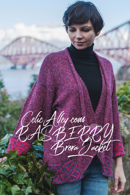 Celtic Brora Jacket Made by Bill Baber Knitwear in the Color RASBERRY Hand Made