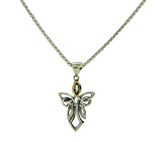 S/sil + 10k Peridot Guardian Angel Small Pendant By Keith Jack