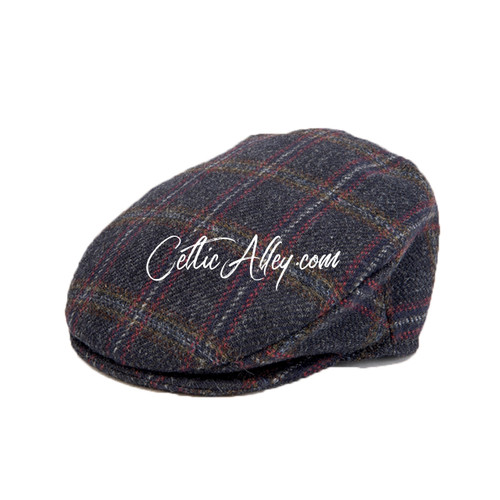Hanna Hats of Donegal Tweed Vintage Cap in NAVY CHECK  HandMade in Ireland