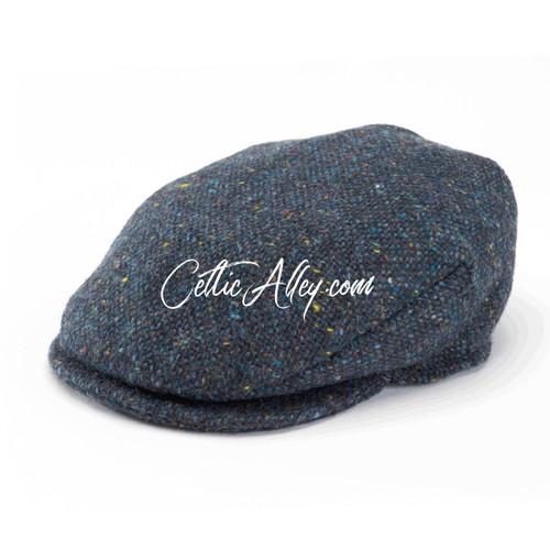 Hanna Hats of  Donegal Tweed Vintage Cap in OCEAN BLUE  HandMade in Ireland