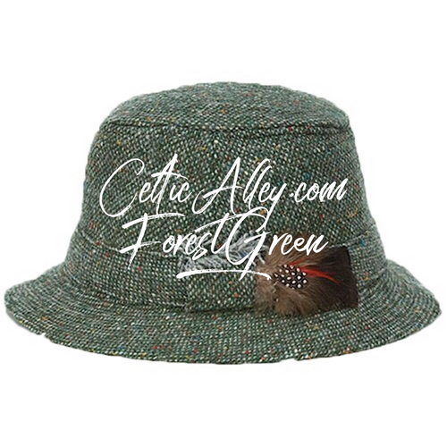 Hanna Hat Donegal IRISH Tweed Walking Hat in FOREST GREEN  HandMade in Ireland