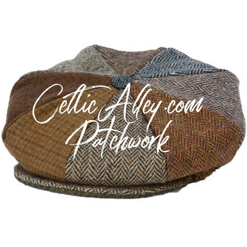 Hanna Hat Donegal IRISH Tweed 8 Piece Peaky Blinders Style Cap in PATCHWORK HandMade in Ireland