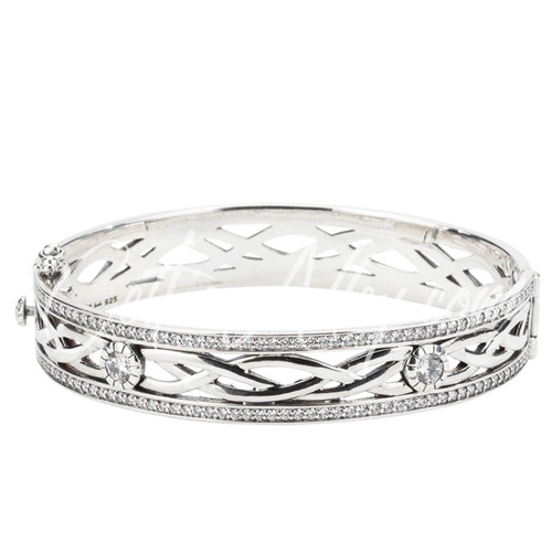 BRAVE HEART Bangle in Sterling Silver and White Cubic Zirconia by Keith Jack PBS8824-CZ