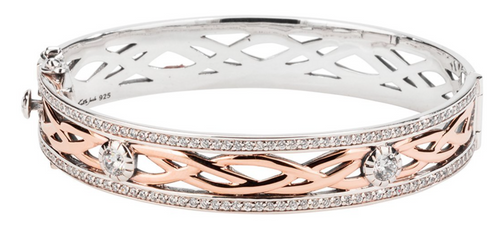 BRAVE HEART Bangle Sterling Silver and 10k Rose Gold with White Cubic Zirconia  By Keith Jack  PBX8824-3-CZ