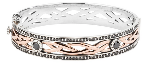 BRAVE HEART Bangle Sterling Silver and 10k Rose Gold with Black Cubic Zirconia  By Keith Jack PBX8824-4-BCZ