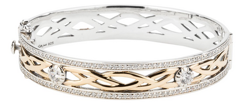 BRAVE HEART Bangle Sterling Silver and 10k Yellow Gold with White Cubic Zirconia  By Keith Jack  PBX8824-CZ