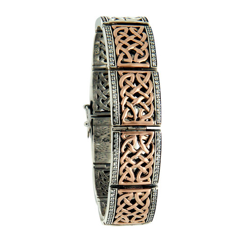 S/sil Oxidized + 10k Rose CZ Brave Heart Hinge Bracelet By Keith Jack