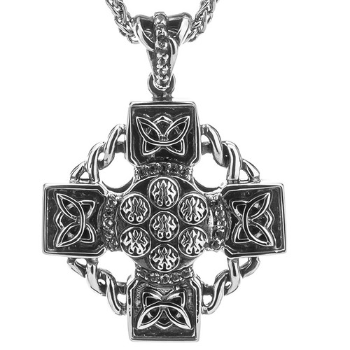 S/sil Oxidized White Topaz Celtic Wheel Cross Pendant By Keith Jack