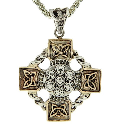 Sterling Silver Oxidized + 10k Gold and White Topaz Celtic Wheel Cross Pendant By Keith Jack