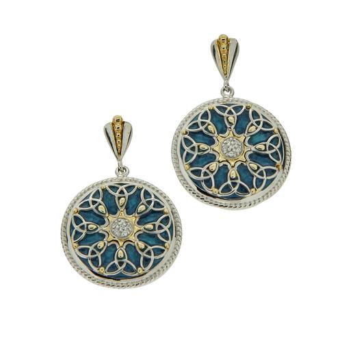S/sil + 10k Sky Blue Enamel CZ Trinity Knot Post Earrings By Keith Jack PEEX6218-SB