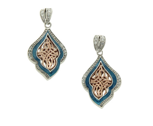 S/sil + 10k Rose Sky Blue Enamel CZ Post Earrings By Keith Jack