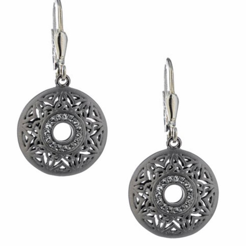 S/sil Ruthenium Window To The Soul White Topaz Round Leverback Earrings By Keith Jack  PES8087-2-WT