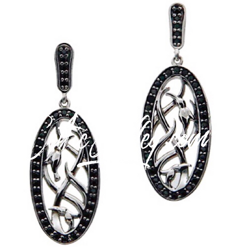 S/sil + Black CZ Double Hummingbird Post Earrings By Keith Jack PES8914-CZ