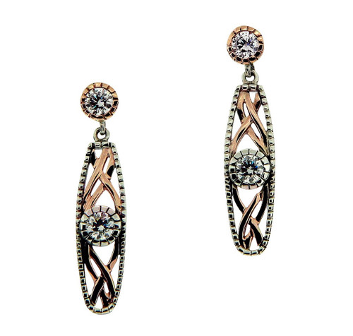 S/sil Oxidized + 10k Rose CZ Brave Heart Post Earrings By Keith Jack